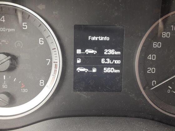Verbrauch 6,3 Liter bei einer Strecke von 236 Km